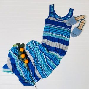 Calvin Klein Striped Sleeveless Maxi Dress